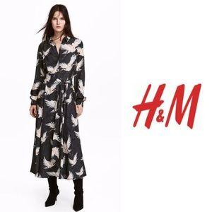 H&M Midi Shirt Dress Bird Pattern